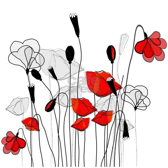 Red Poppies and Hearts