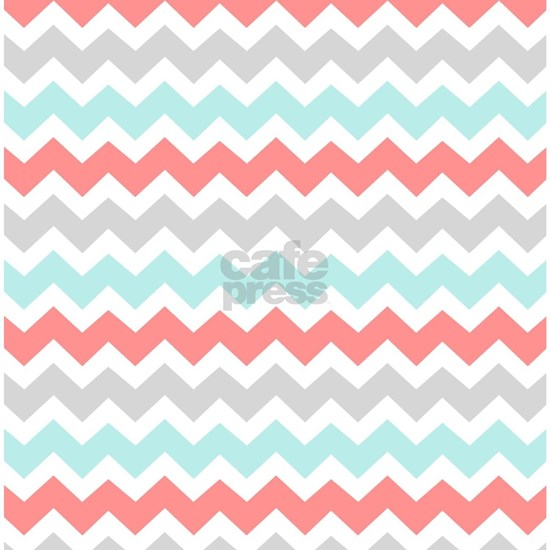 Aqua Grey Coral White Chevron Stripes