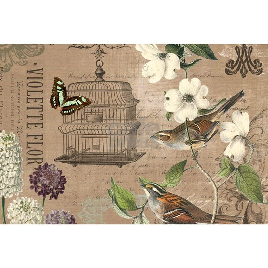Modern vintage French birds and birdcage