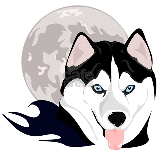 Husky Dog & Moon