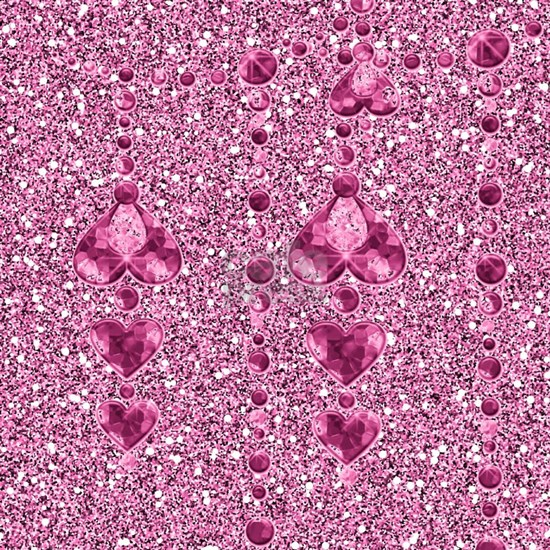 Pink Faux Glitter  Heart Droplets