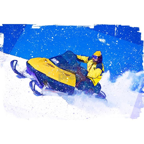Yellow Snowmobile in Blizzard Edges