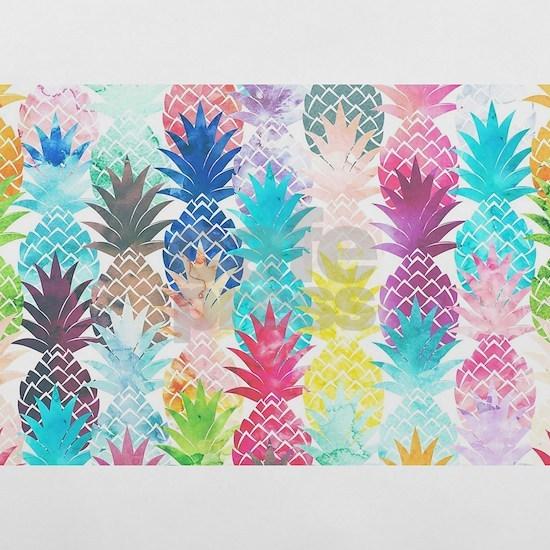 Hawaiian Pineapple Pattern Tropical Watercolor