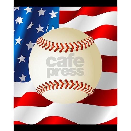 Baseball Ball On American Flag