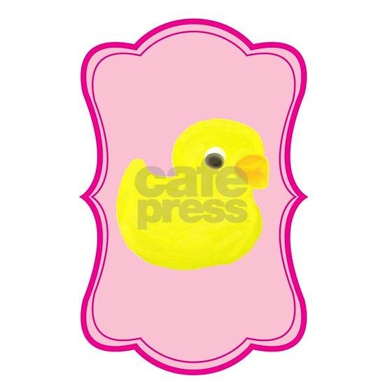 Yellow Duck on Pink Flourish