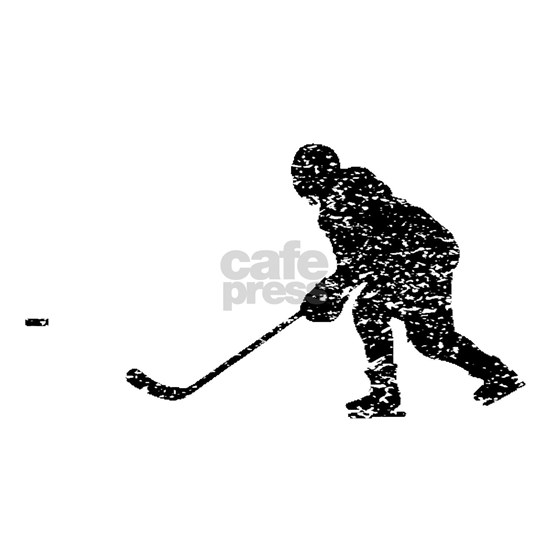 Distressed Hockey Player Silhouette
