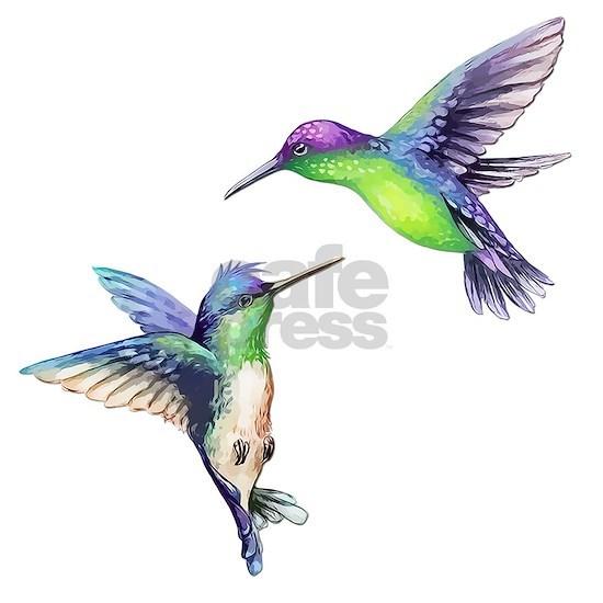 Pair of Metallic Green Blue and Purple Hummingbird