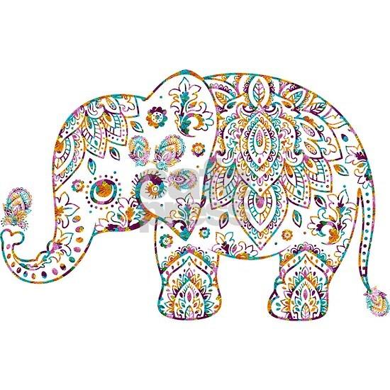 Colorful paisley Cute Elephant Illustration