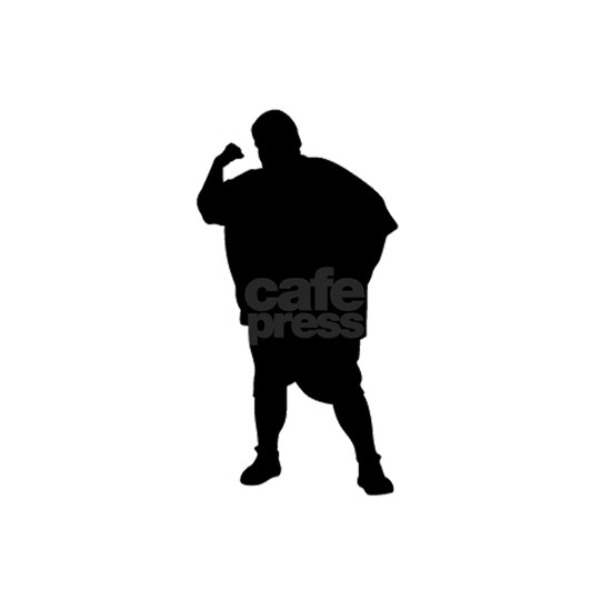 Fatty man punch silhouette