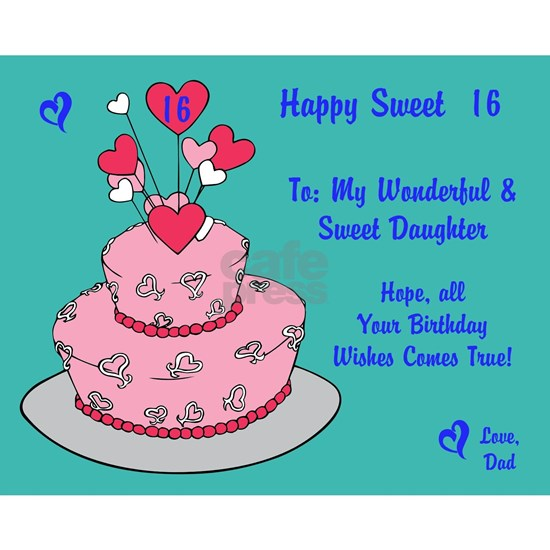 Happy Sweet 16 Birthday Card Puzzle From Dad By Prettylittleweddings Cafepress