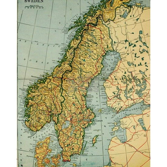 Vintage Map of Norway and Sweden (1921)