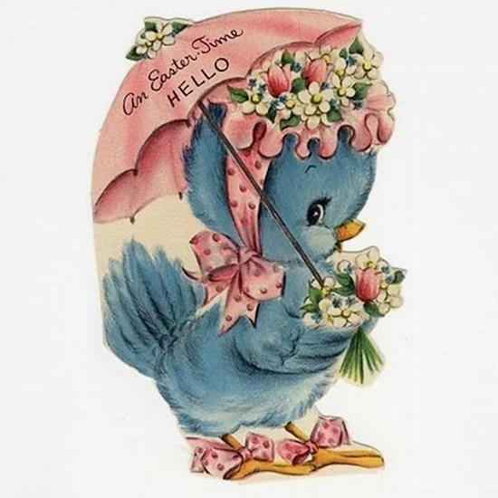 Vintage Easter Blue Bird Bonnet