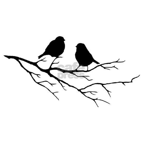 Two Little white Sparrow Birds Black silhouette
