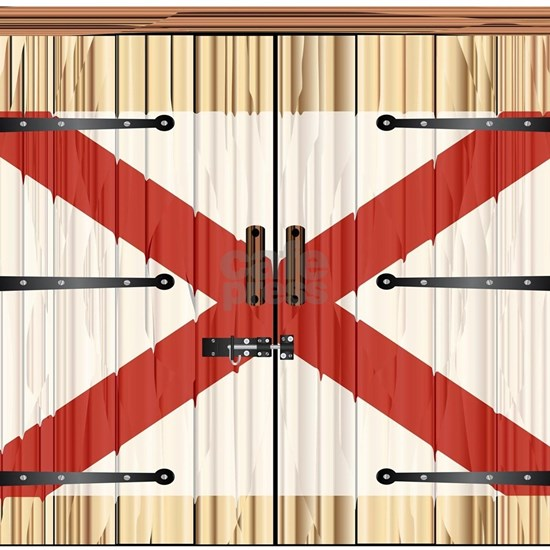 Closed Barn Door With Alabama State Flag