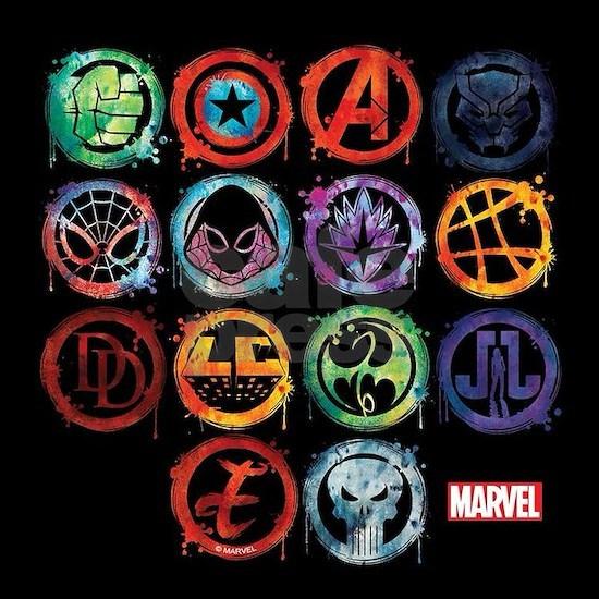 Marvel All Splatter Icon Square Car Magnet 3