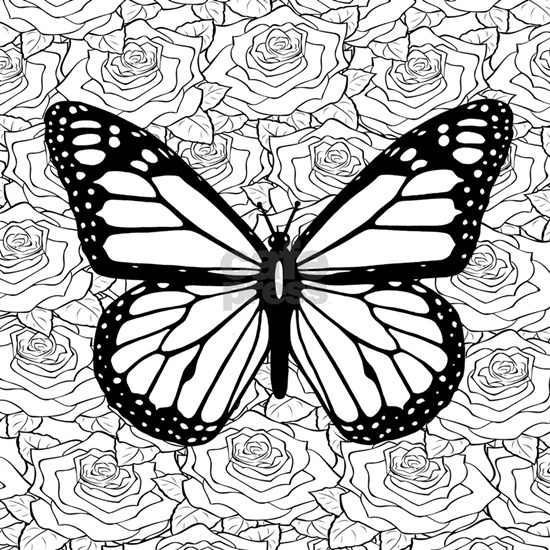 """Butterfly Rose Adult Coloring Book Square Sticker 3"""" x 3 ..."""