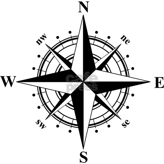 Compass Rose - Black and White