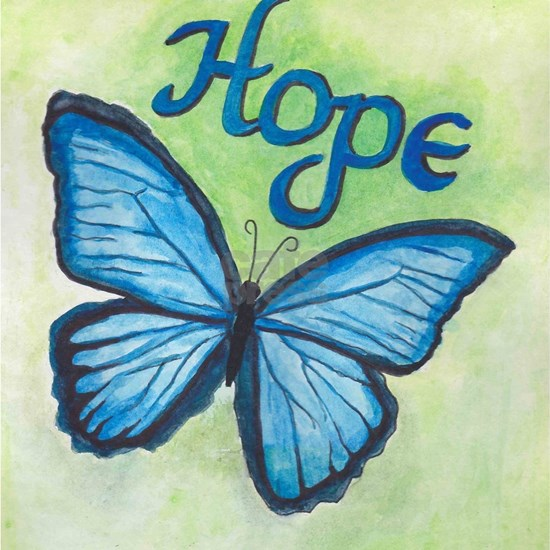 hope blue butterfly