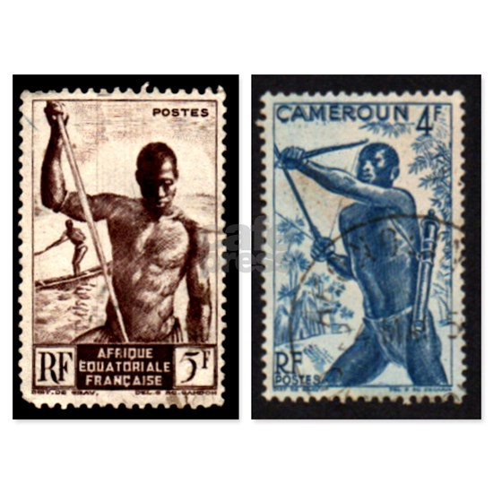 African Spear Fisherman and Bow Hunter