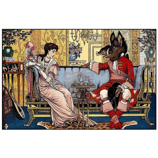 Beauty and The Beast having Tea by Walter Crane in