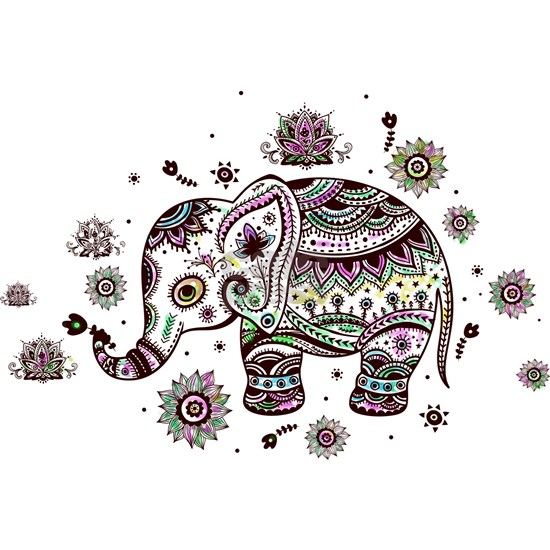 Cute Pastel Colors Floral Elephant