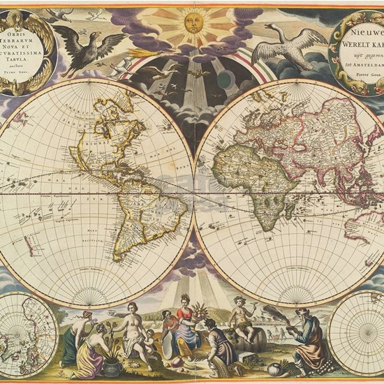 Vintage Map of The World (1668)