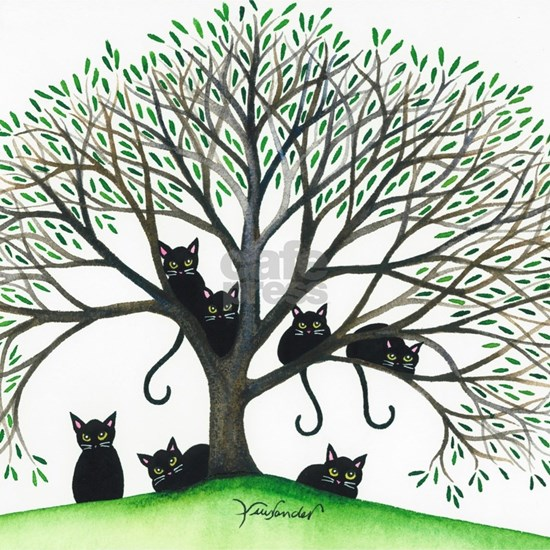 Borders Black Cats in Tree by Lori Alexander