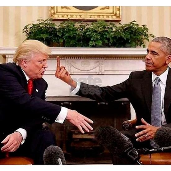 barack obama giving donald trump the middle finger