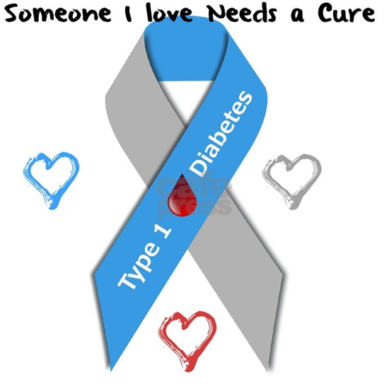 Type 1 Diabetes Awareness Ribbon Love Cure