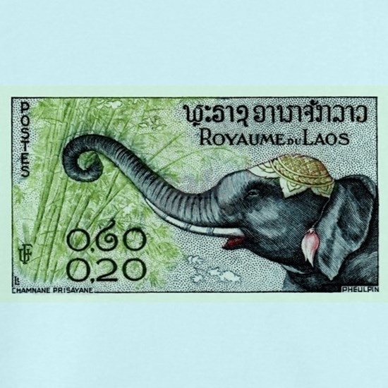 1958 Laos Elephant Eating Bamboo Postage Stamp