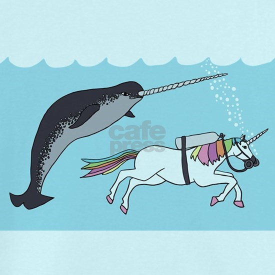 Narwhal Swimming With Unicorn