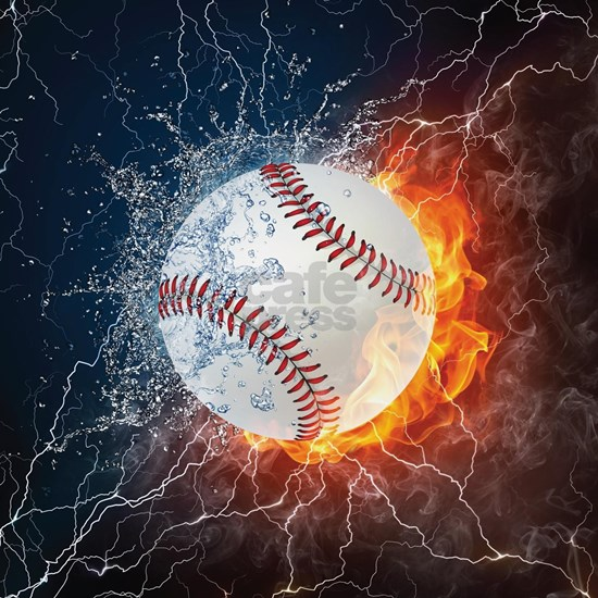 Baseball Ball Flames Splash