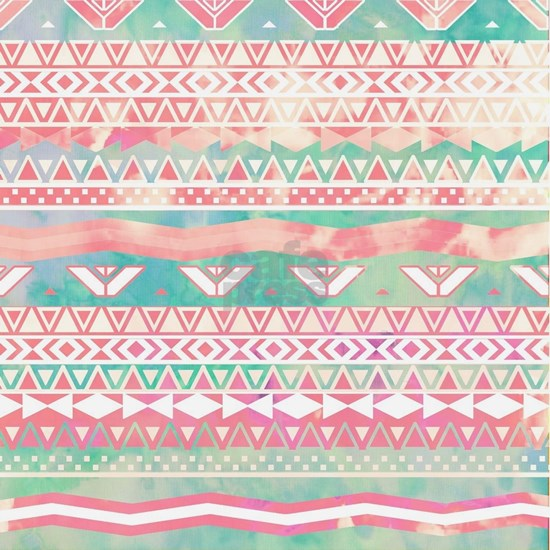 Watercolor Turquoise Pink Girly Abstract Aztec