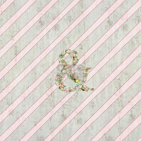 Romantic Floral Ampersand Pink Stripes