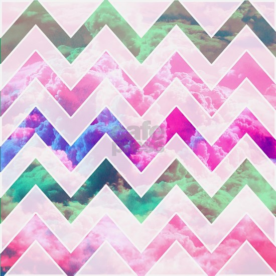 Modern White Chevron Pattern Girly Pink Clouds