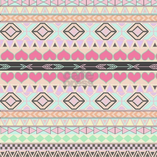 Girly Pastel Andes Abstract Aztec Pink Love Hearts
