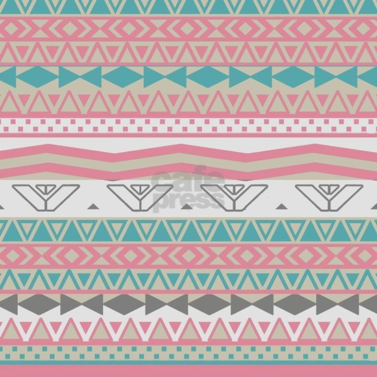 Retro Pink Girly Turquoise Abstract Aztec Pattern