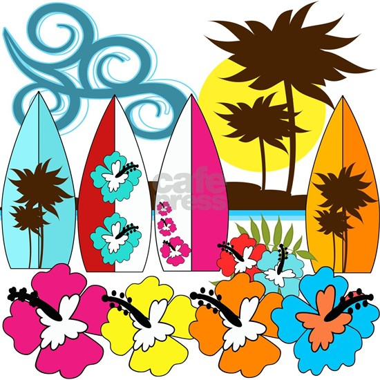 Surfing Beach Bum Surfboards Flowers Palm Trees at