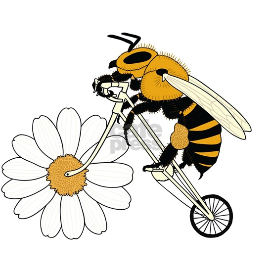 Bee Riding Bike With Flower Wheel