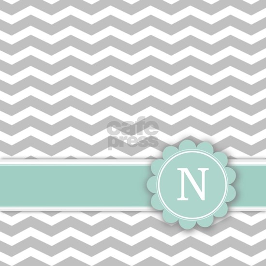 Letter N Mint Monogram Grey Chevron