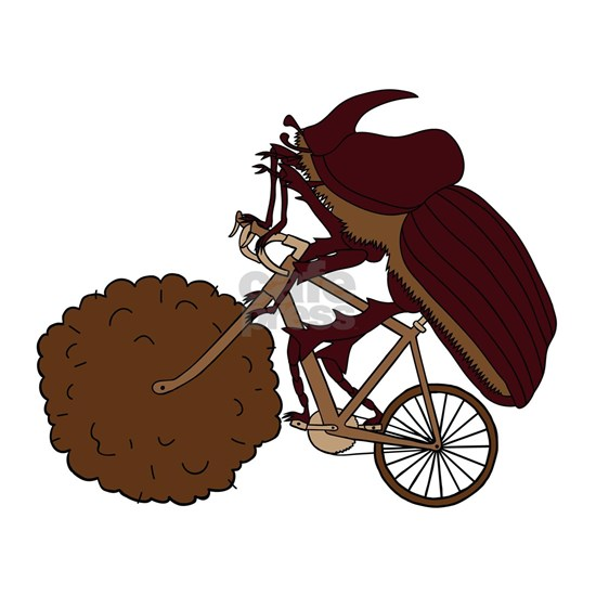 Dung Beetle Riding Bike With Dung Wheel