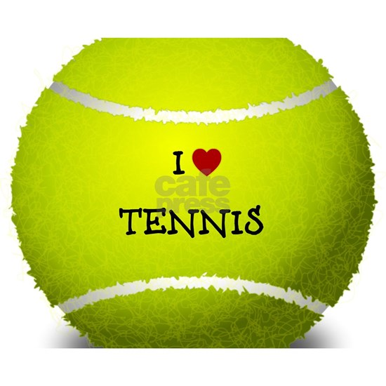 I Love Tennis on a Yellow Tennis Ball