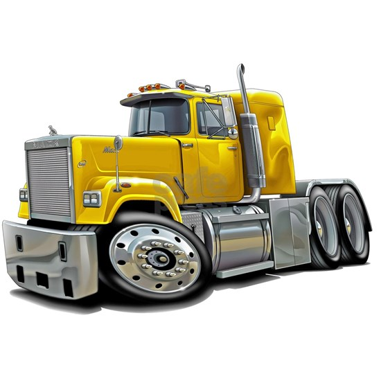 Mack Superliner Yellow Truck Picture Ornament