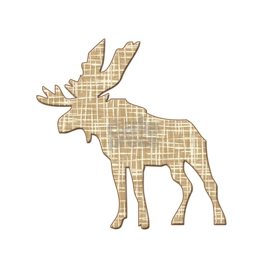 Moose Elk silhouette with brown lines