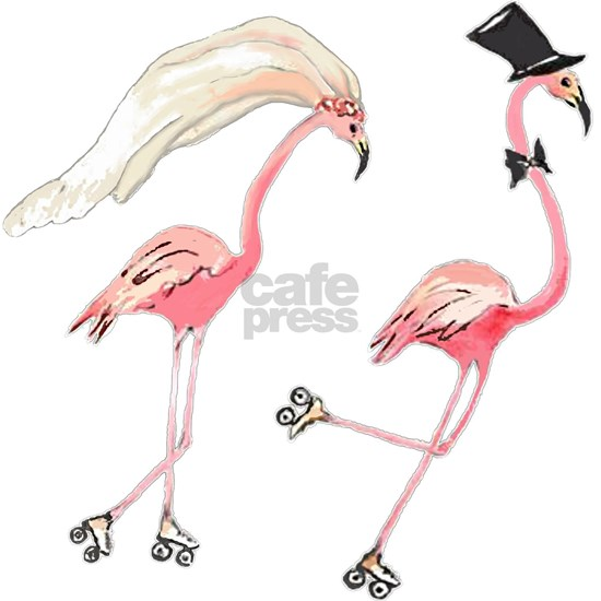 Bride and Groom Flamingos