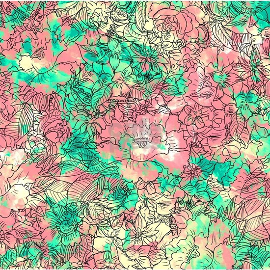 Summer Turquoise Watercolor Floral Pattern Sketch