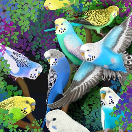 Budgerigars in Ferns