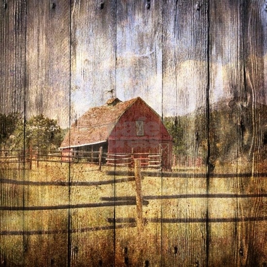 Woodgrain farm red barn