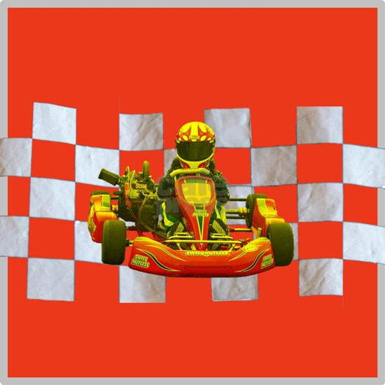 Yellow Kart on Checkered Flag