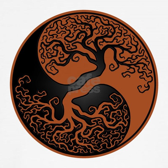 Brown and Black Yin Yang Tree